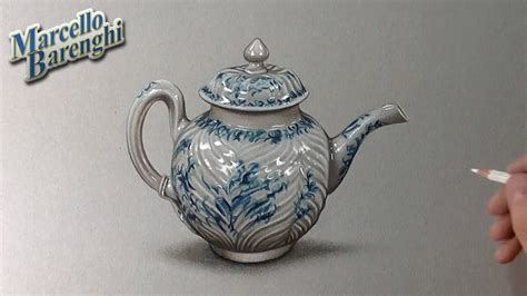 How to draw a porcelain teapot - YouTube