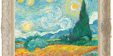 Starry Night With Wheat Field and Cypress Trees   John