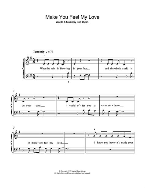 Make You Feel My Love sheet music by Adele (5-Finger Piano