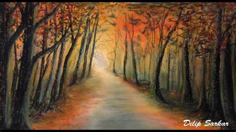 How to draw , Forest At Sunset - soft pastel & Oil pastel