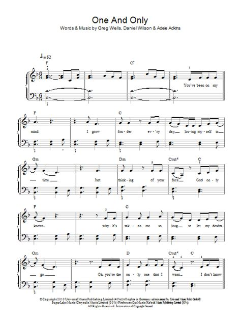 One And Only   Sheet Music Direct