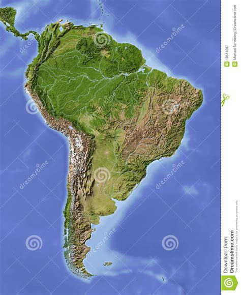 South America, Shaded Relief Map Stock Illustration